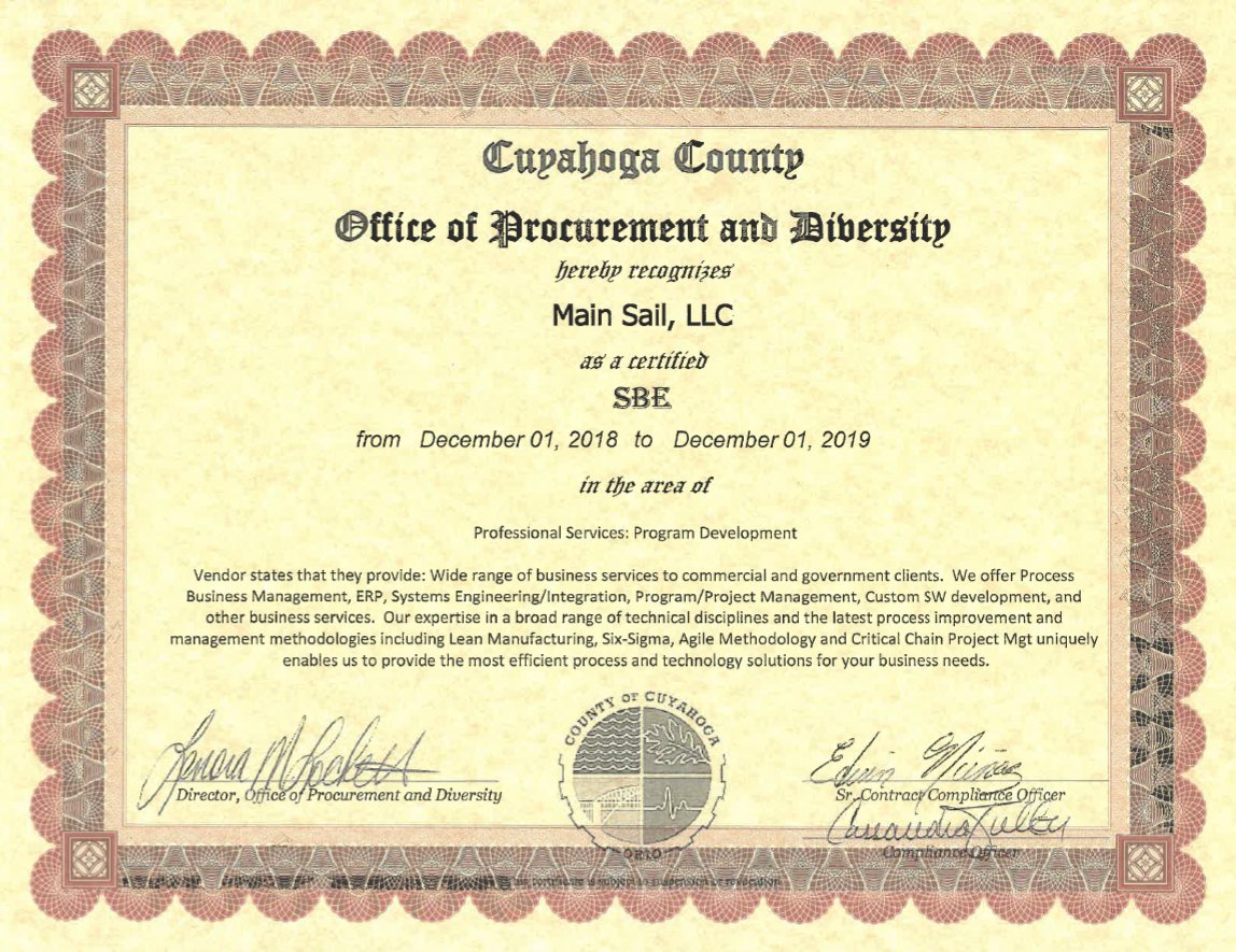 Small Business Enterprise Certification Main Sail